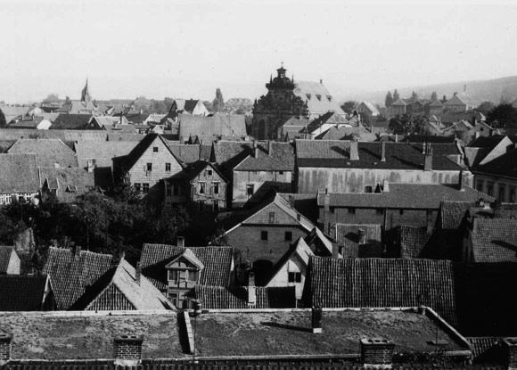 Over the roofs of Bückeburg around 1930