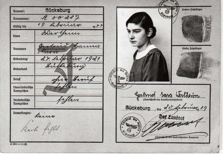 Gertrud Wertheim auf einer Kennkarte (Volkskartei) von 1939