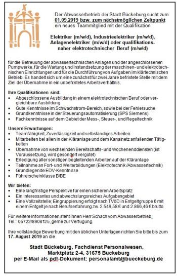 Stellenausschreibung Elektriker ABB